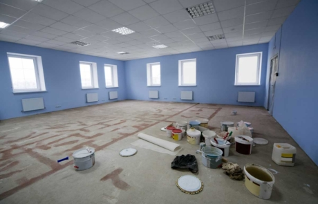 Commercial business office interior being painted blue & white