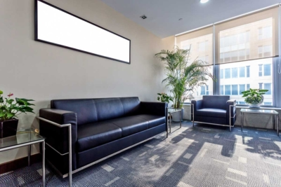 Commercial office lobby interior painted silver & grey