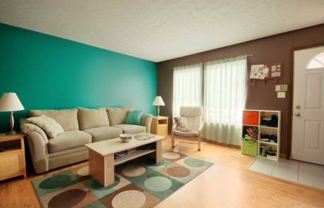 Residential home living room interior painted vibrant green, chocolate brown, and white
