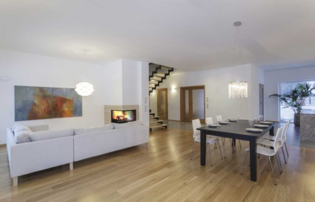 Residential living room & dining room interior painted a modern white