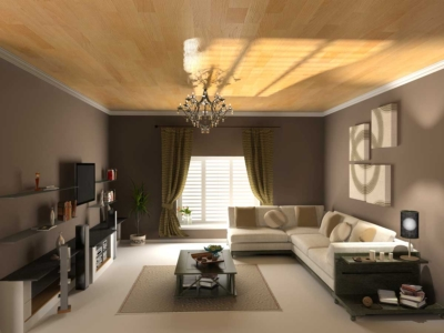 Residential living room interior painted mocha brown and white