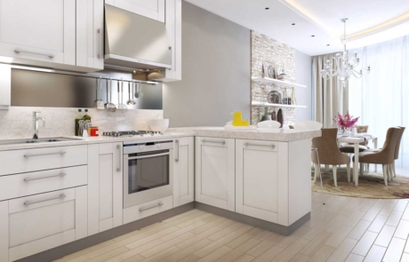 Residential home kitchen interior painted white and gray