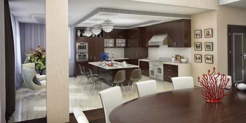 Property Management Painting - Kitchen interior painted a modern white & brown