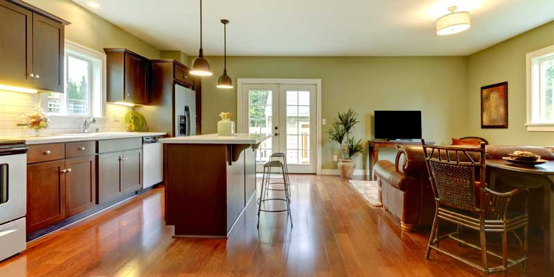 Interior Residential Painting - Home kitchen interior painted white & avocado green
